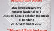Ucapan Selamat atas Terseleggaranya Kongres Nasional ke-3 AKSi tahun 2017 di Bandung, Jawa Barat