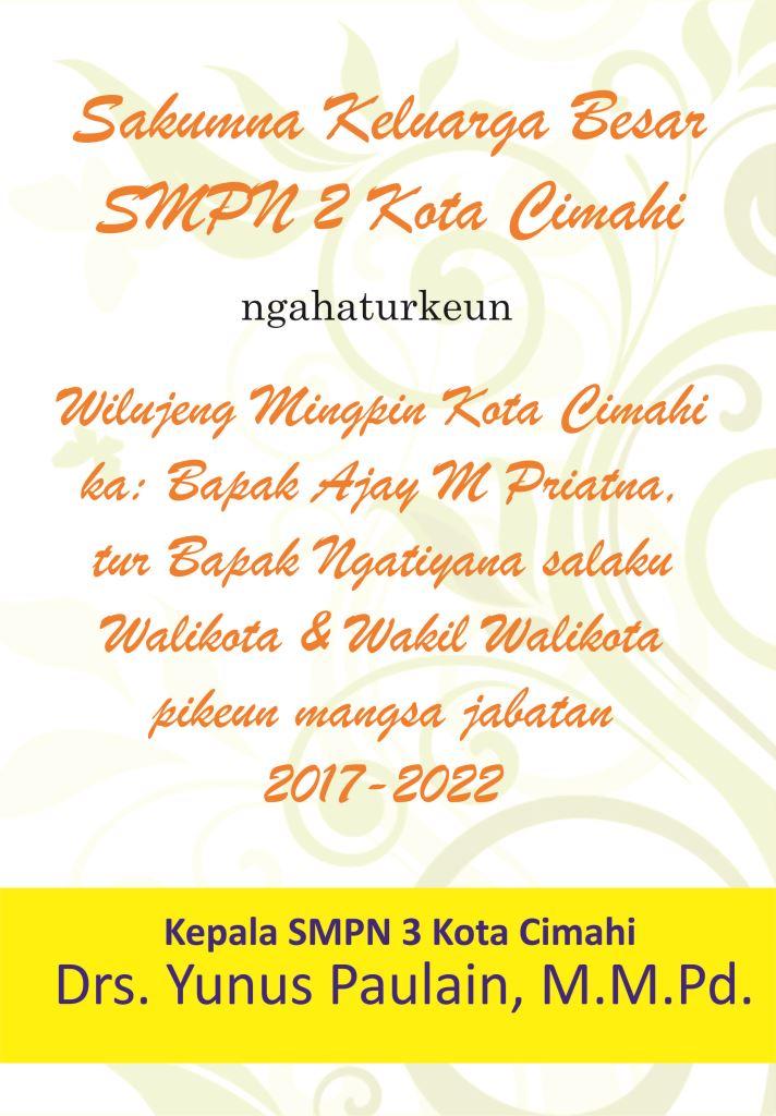 ucapan selamat kepada walikota cimahi periode 2017-2022 smpn 3 cimahi-majalahsora